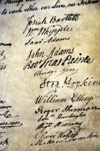 Adam's signature on the Declaration of Independence